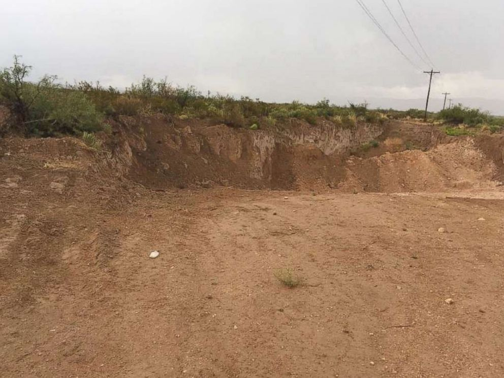 PHOTO: Closeup shots of the gutted earth where News Mexico State Land Trust officials claim was being pilfered by unauthorized Texas roadworkers to repair a dusty byway.