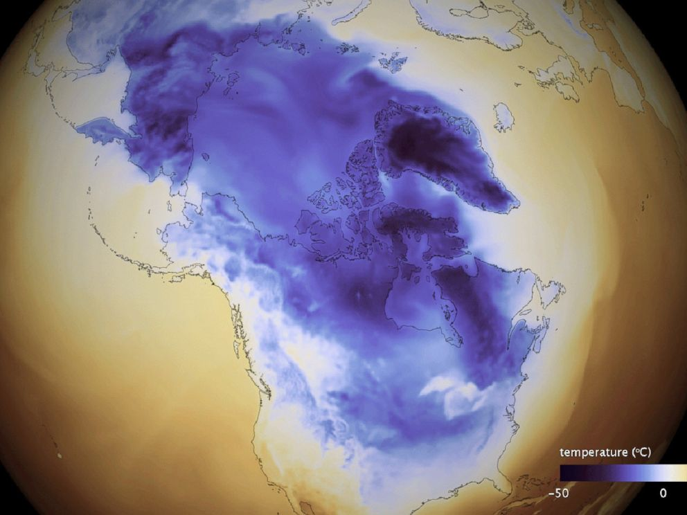 PHOTO: A handout image made available on Jan. 2, 2018 shows the Arctic cold that extends through Canada into the United States.
