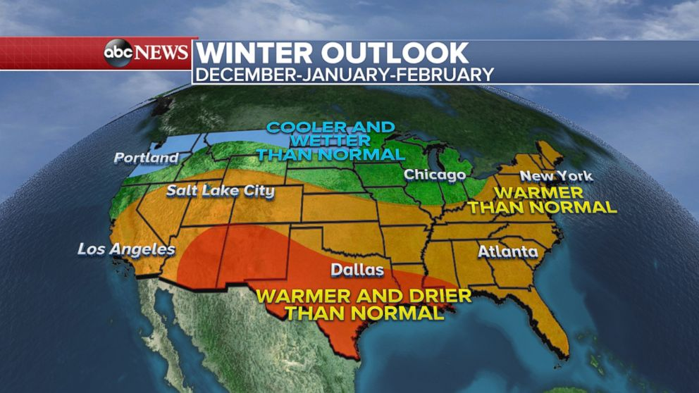 Winter weather forecast shows colder wetter North and warmer drier