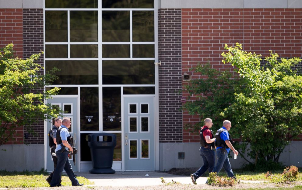 PHOTO: Law enforcement agents gather after a shooting at Noblesville West Middle Scholl in Noblesville, Ind., May 25, 2018.