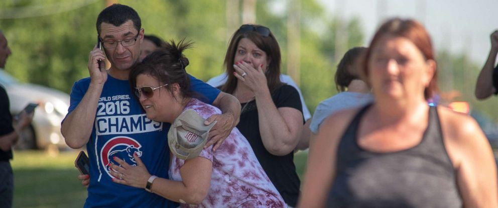 PHOTO: Parents Comfort Each Other As They Wait Outside Noblesville West  Middle School After A