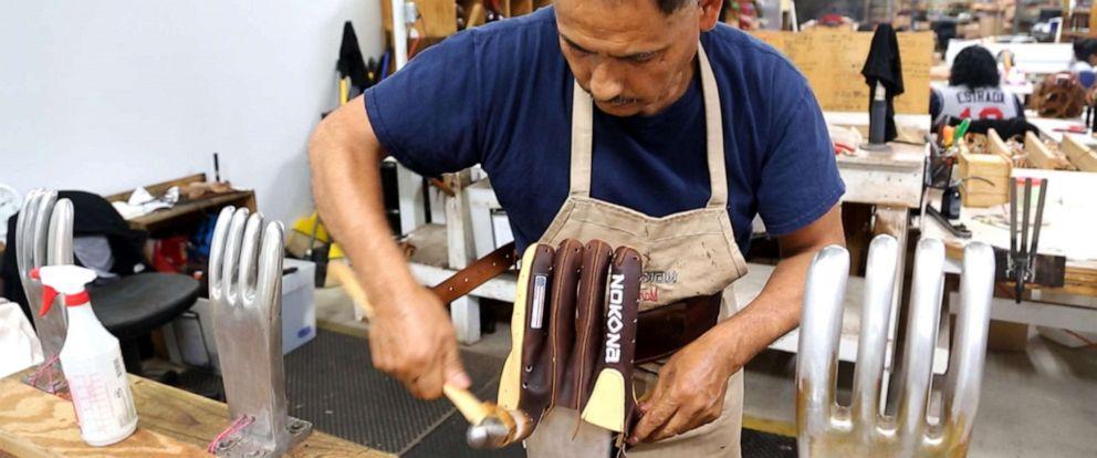 PHOTO: Nokona Ball Gloves in Nocona, Texas, makes 150 baseball gloves a day.