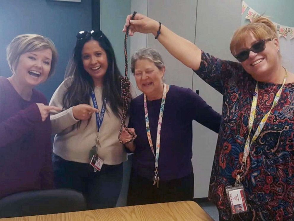 PHOTO: Four elementary school teachers are seen in a photo smiling while holding a noose in this undated file photo that was posted on social media.