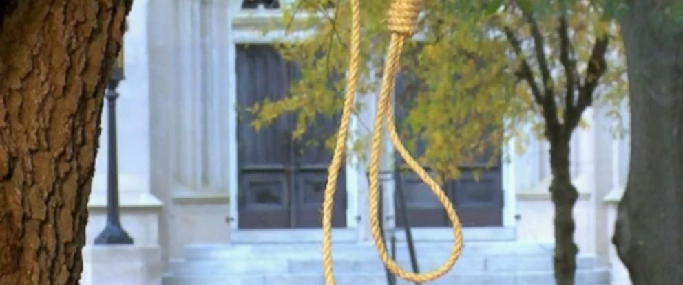 Nooses were hung outside the Mississippi Capitol on Monday.