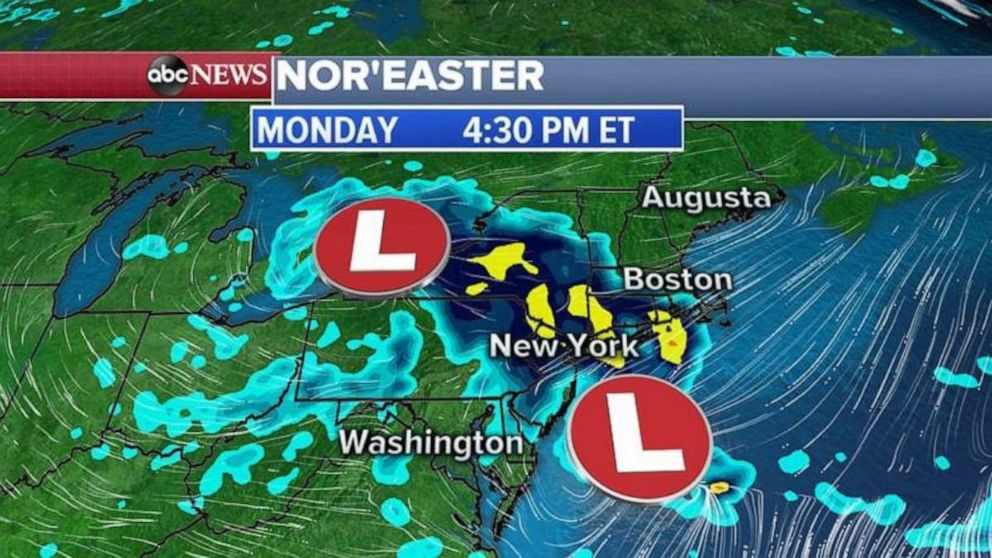 PHOTO: The storm system will gather strength off the Northeast coast on Monday.
