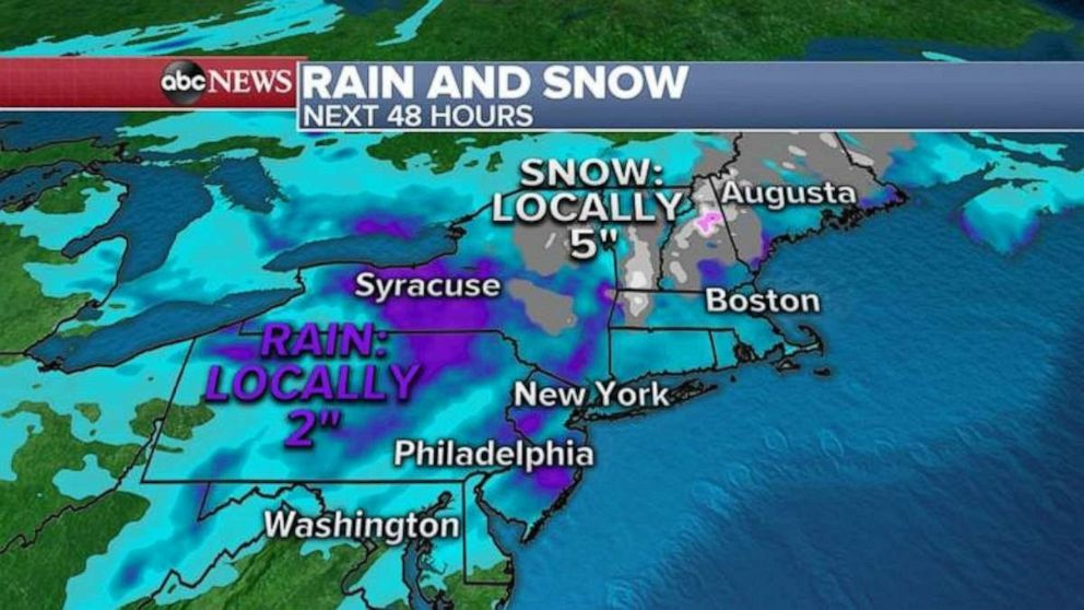 PHOTO: The weather system will bring rain and snow to the area.