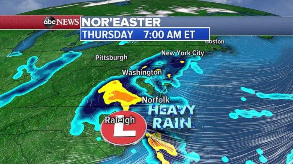 PHOTO: Heavy rain was forming off the Carolina coast on Thursday morning.