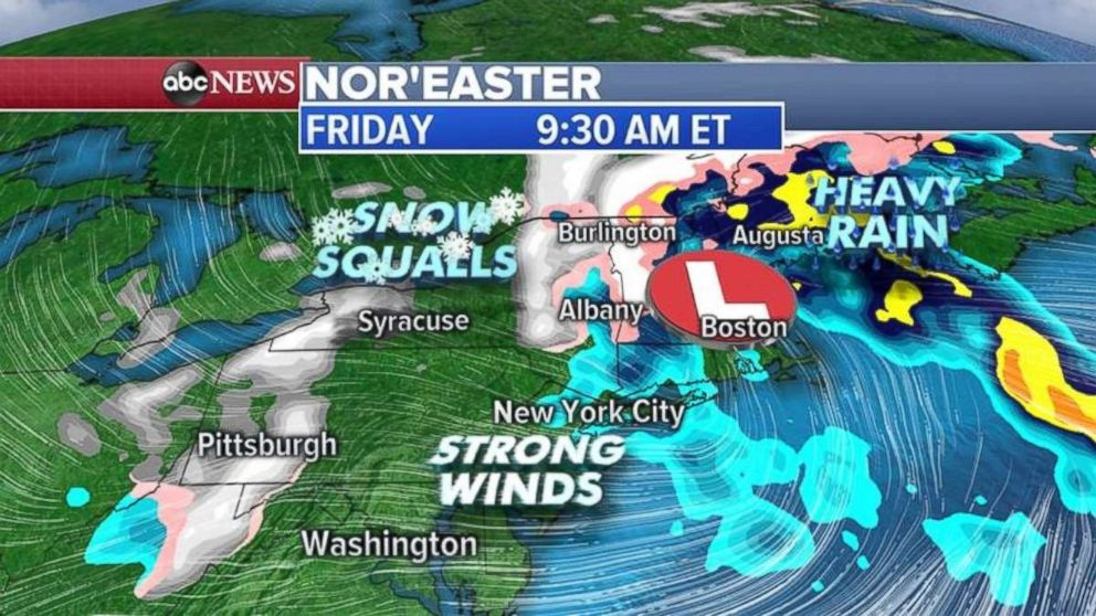 PHOTO: Snow is possible in eastern New York and northern New England from the noreaster.