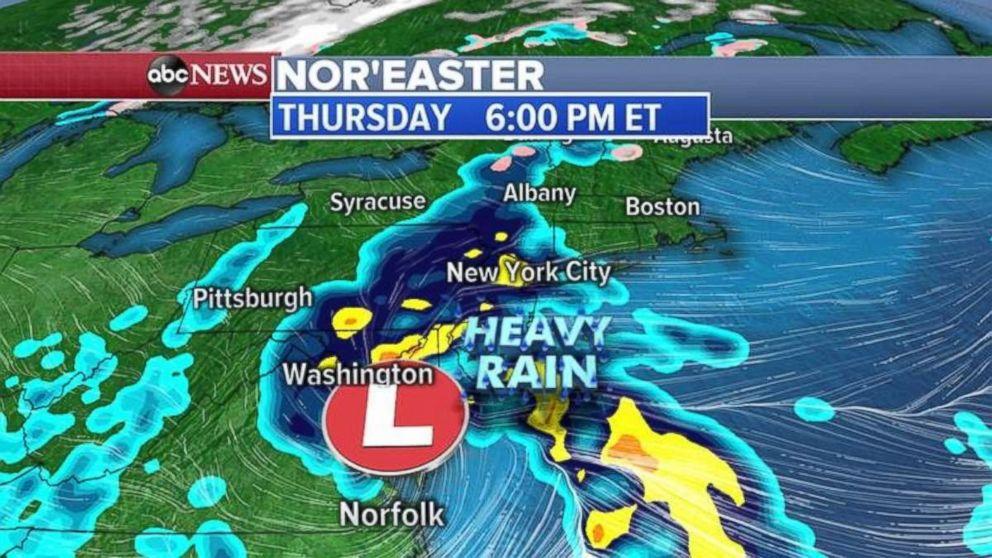 PHOTO: Heavy rain will move into the New York City area on Thursday night.