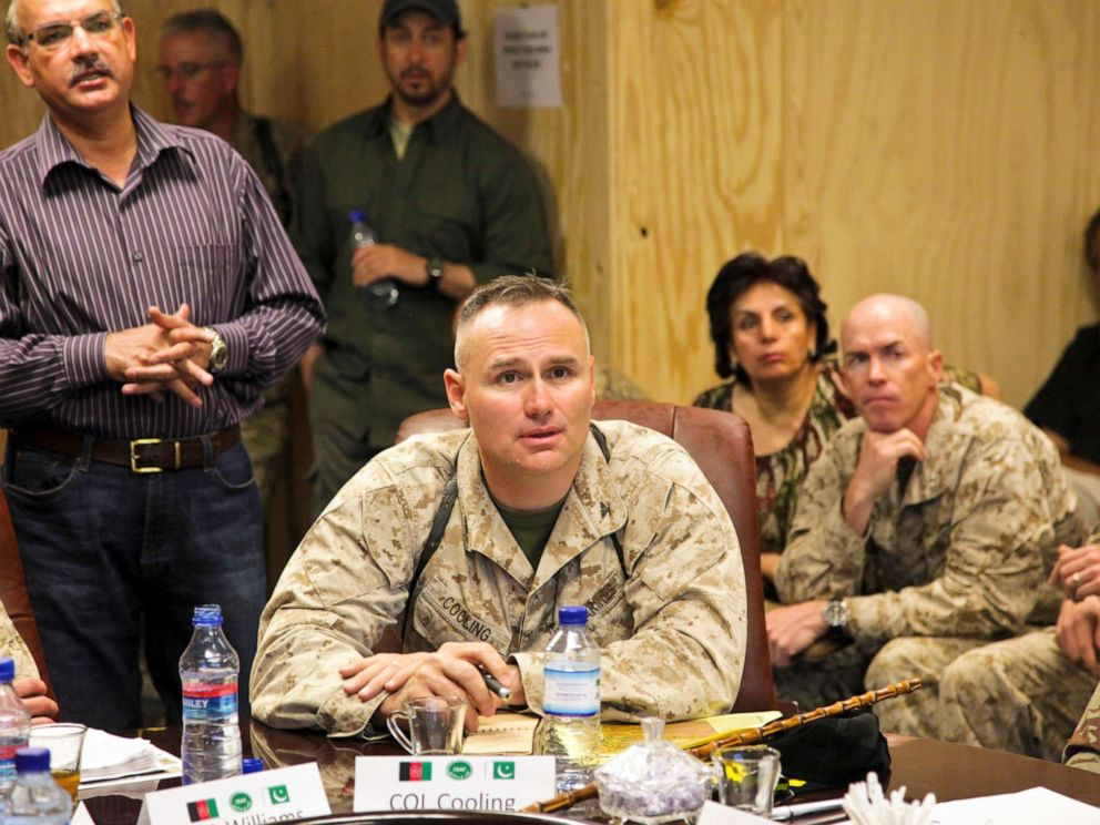 PHOTO: U.S. Marine Corps Col. Norman Cooling speaks to members of International Security Assistance Force, Afghanistan, and Pakistan military officials in Kandahar, Afghanistan, June 21, 2011.