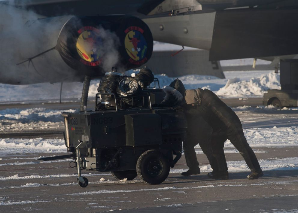 PHOTO: Airmen use engine heaters at Minot Air Force Base in North Dakota, which experienced minus 14 degree Fahrenheit temperatures on Jan. 30, 2019 with even colder wind chills.
