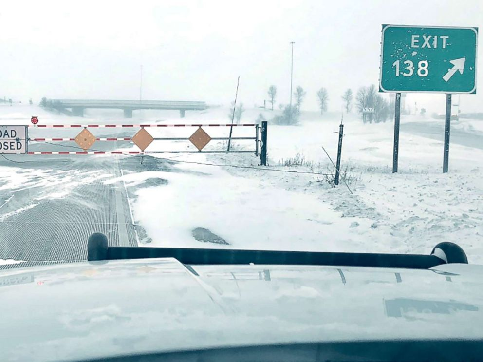 PHOTO: North Dakota Highway Patrol gives residents updates on road conditions following a blizzard on Feb. 6.