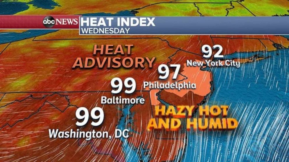 PHOTO: Temperatures will be hot and humid in the Northeast on Wednesday ahead of potential severe storms.