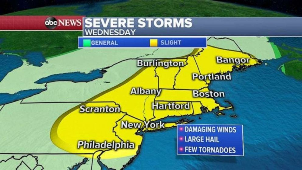 PHOTO: Severe storms are possible in the Northeast on Wednesday.