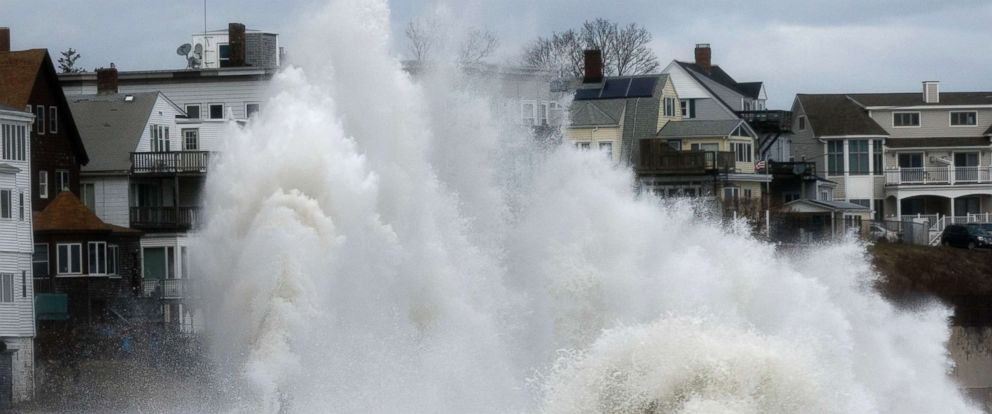 PHOTO: A large wave crashes into a seawall in Winthrop, Mass., March 3, 2018, a day after a noreaster pounded the Atlantic coast.
