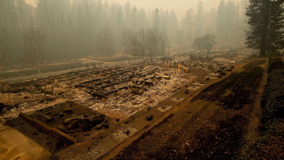 Leveled residences line a mobile home park on Edgewood Lane after the Camp Fire burned through Paradise, Calif., on Nov. 10, 2018.