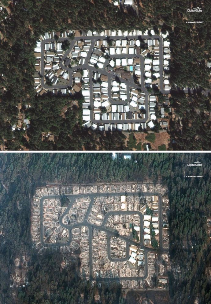 PHOTO: A Sept. 10, 2018, image of the Kilcrease circle community in Paradise, Calif., compared to a Nov. 17, 2018 image this area was destroyed by the deadly Camp Fire.