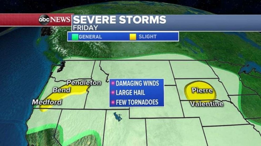PHOTO: Severe storms are possible in Oregon and South Dakota on Friday.