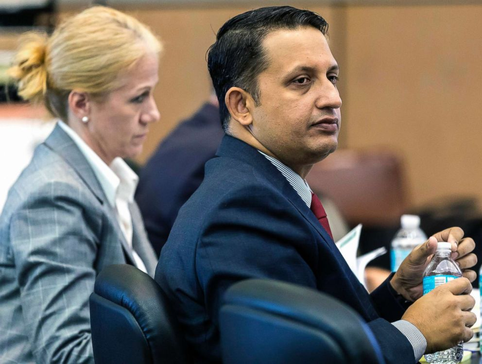 PHOTO: Nouman Raja listens to the testimony of Michael LaForte, a crime reconstruction expert, during his trial, March 5, 2019, in West Palm Beach, Fla.