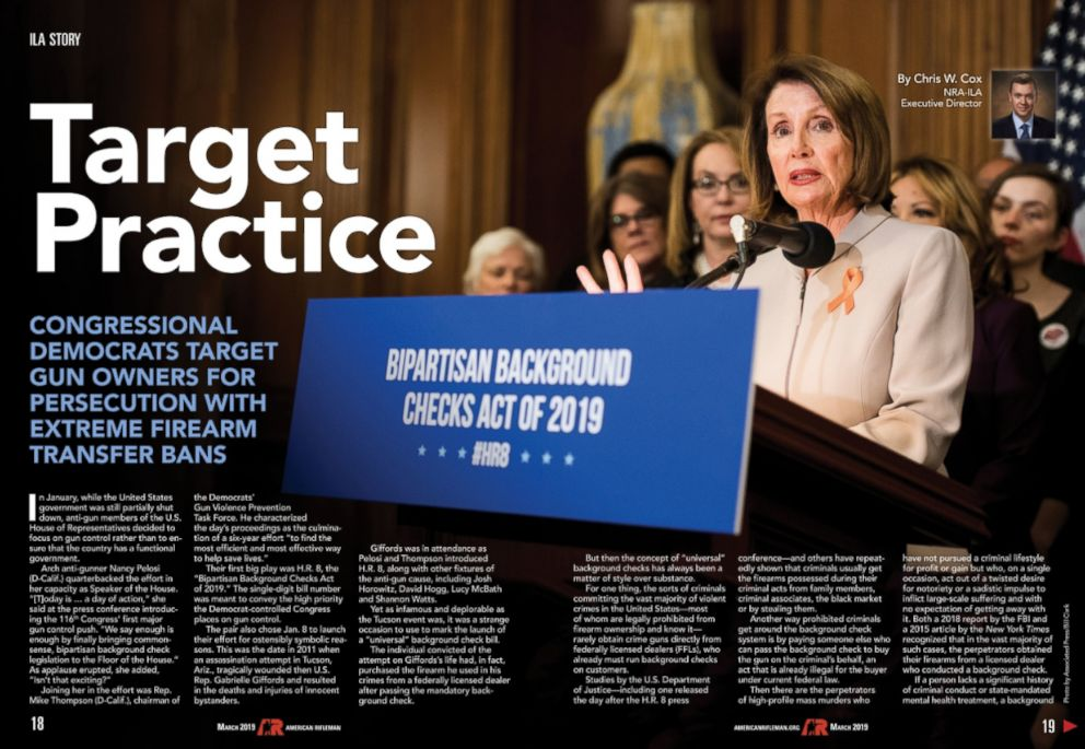 PHOTO: An article from the March 2019 issue of American Rifleman magazine features a photograph of Speaker of the House Nancy Pelosi and former Rep Gabrielle Giffords at a press conference with the headline, Target Practice.