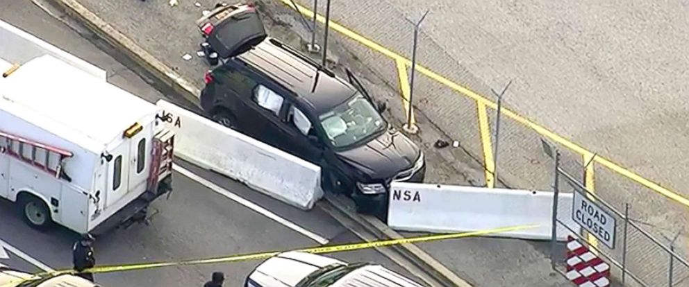 PHOTO: In this image made from video and provided by WUSA TV-9, authorities investigate the scene of a shooting at Fort Meade, Md. on Feb. 14, 2018.