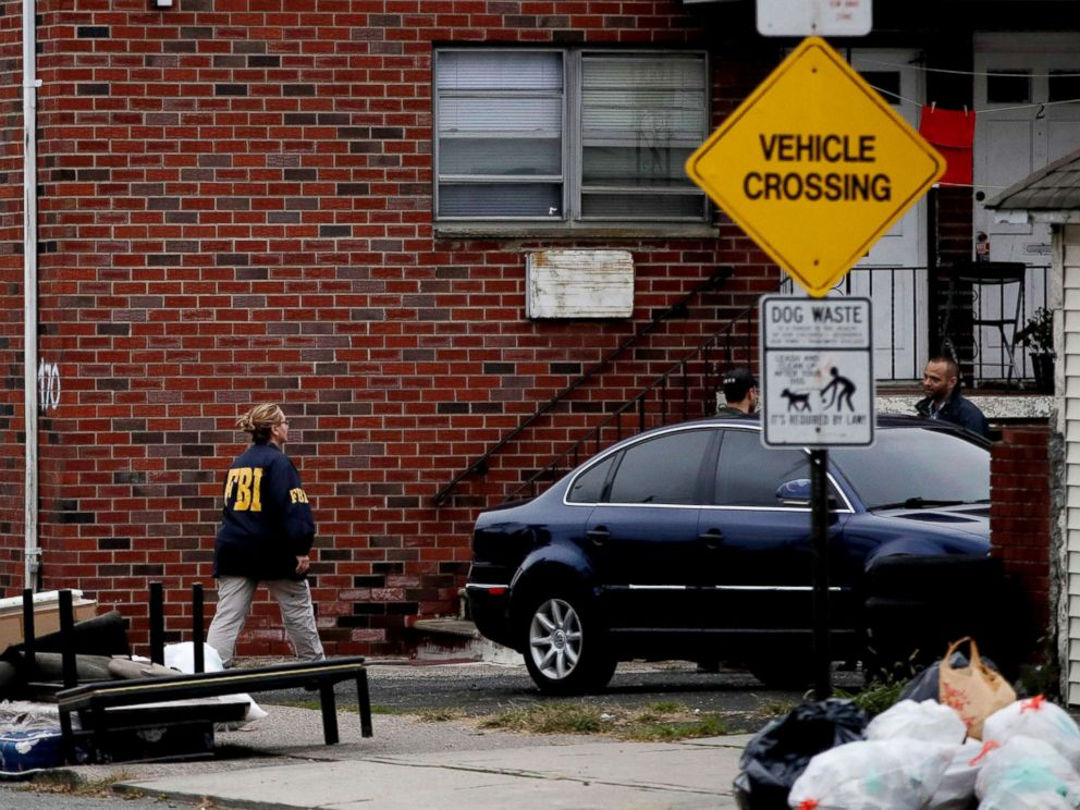 PHOTO: Law enforcement investigate the apartment building in Paterson, N.J., Nov. 1, 2017, where the suspect accused of killing several people and injuring others along New York??s Hudson River bike path lived.