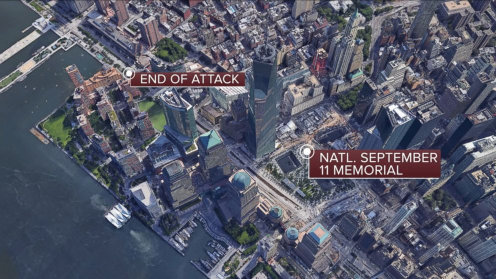 PHOTO: Location of the truck attack in Lower Manhattan, Oct. 31, 2017.