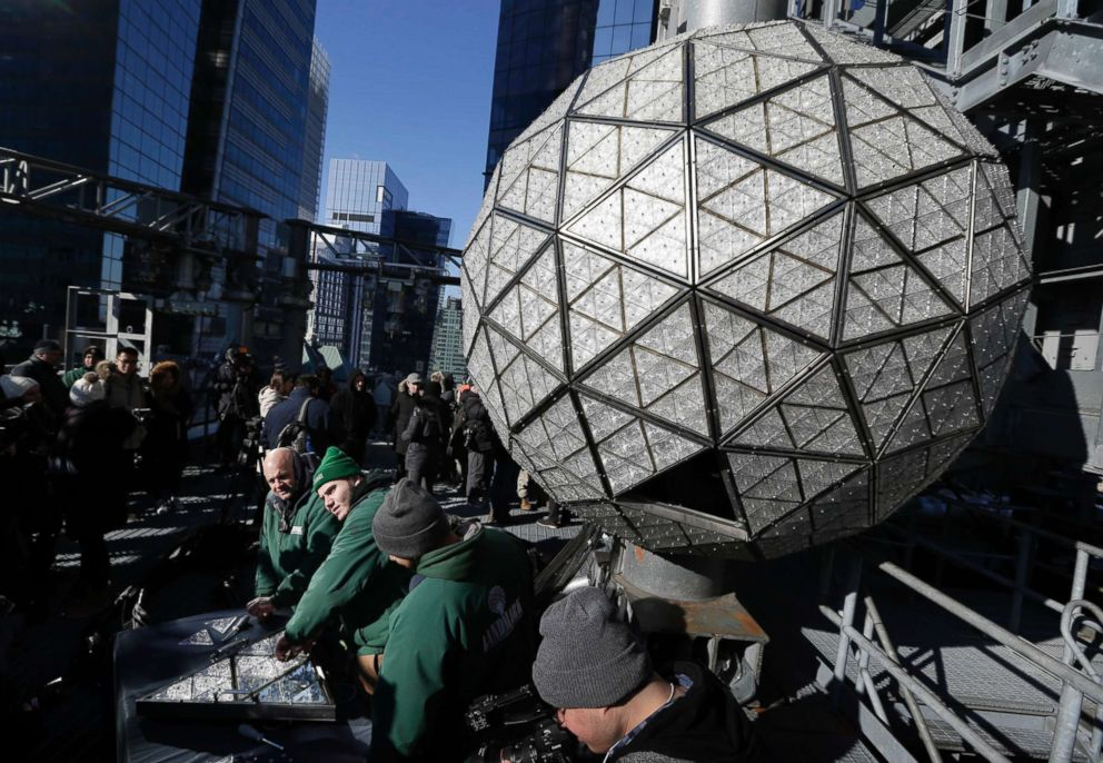 PHOTO: Workers prepare to install the last panels on the New Years Eve ball above Times Square, New York, Dec. 27, 2017. The 12-foot diameter ball carries over 2600 Waterford crystals and is lit by more than 32,000 LEDs.