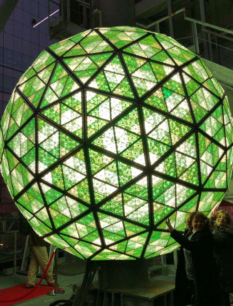 PHOTO: The Waterford Crystal ball is lit before it is installed ahead of New Years Eve in Times Square, New York, Dec. 27, 2017.