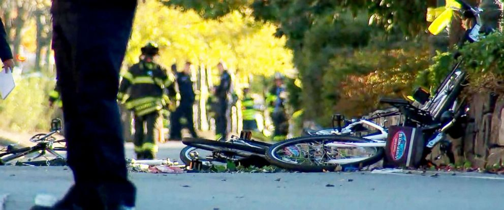 PHOTO: Emergency crews respond to the scene where multiple people were injured after a truck plowed through a bike path, Oct. 31, 2017, in New York City.