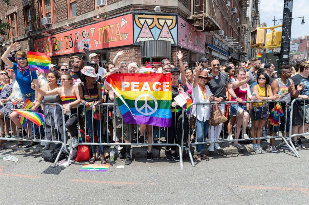 PHOTO: People attend the 49th annual New York pride parade along 7th avenue, June 24, 2018.