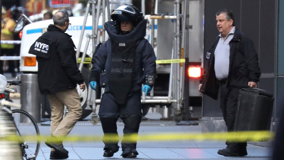 A member of the New York Police Department bomb squad is pictured outside the Time Warner Center in Manahattan, Oct. 24, 2018, after a suspicious package was found inside the CNN Headquarters in New York.