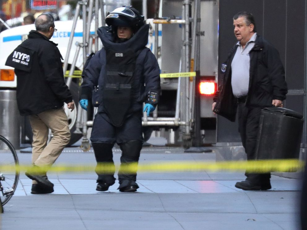 PHOTO: A member of the New York Police Department bomb squad is pictured outside the Time Warner Center in Manahattan, Oct. 24, 2018, after a suspicious package was found inside the CNN Headquarters in New York.