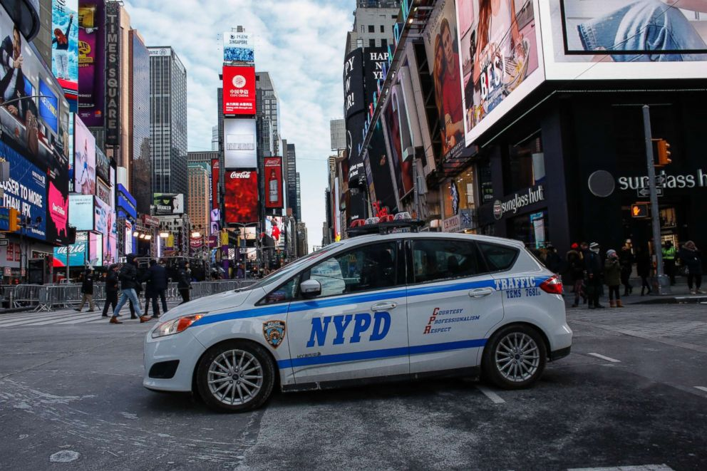 PHOTO: A New York Police Department (NYPD) car is parked in Times Square prior to New Years Eve celebrations on Dec. 31, 2017 in New York.