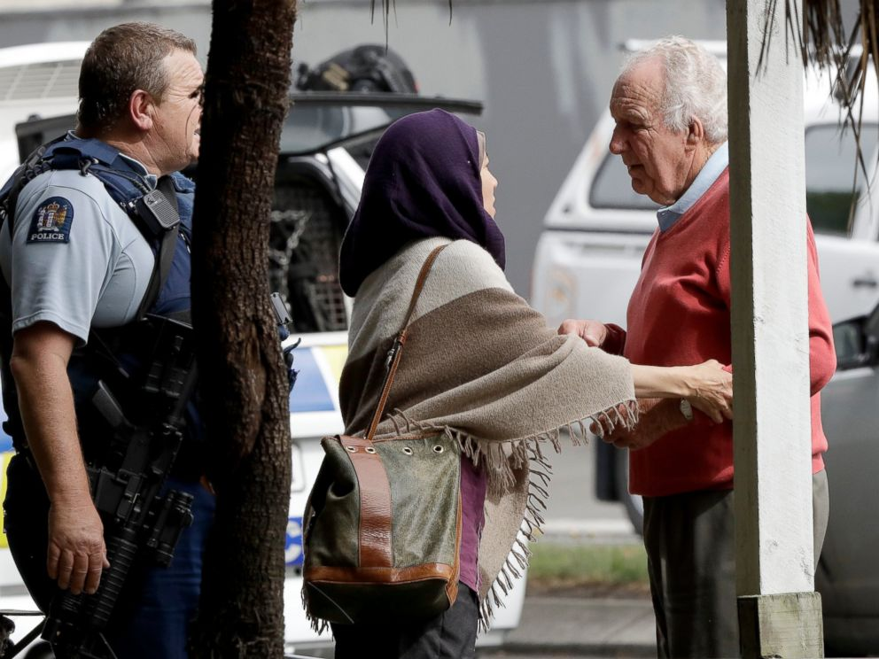 PHOTO: People wait outside a mosque in central Christchurch, New Zealand, Friday, March 15, 2019.