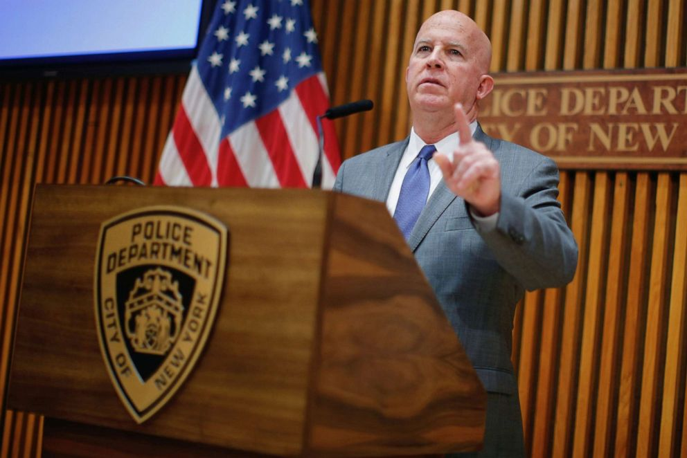 PHOTO: New York Police Department Commissioner James P. ONeill speaks at a news conference at Police Headquarters in New York, Aug. 19, 2019.