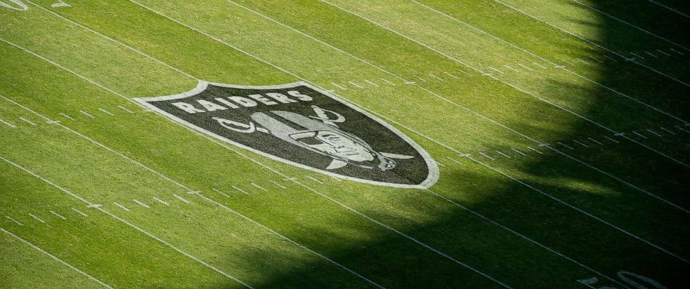 PHOTO: The Oakland Raiders logo is seen on the field at Estadio Azteca before their game against the New England Patriots on Nov. 19, 2017, in Mexico City, Mexico.