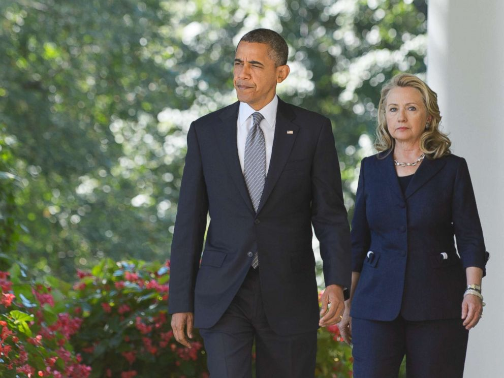 PHOTO: President Barack Obama and Secretary of State Hillary Clinton make their way to deliver a statement in the Rose Garden of the White House, Sept. 12, 2012 in Washington.