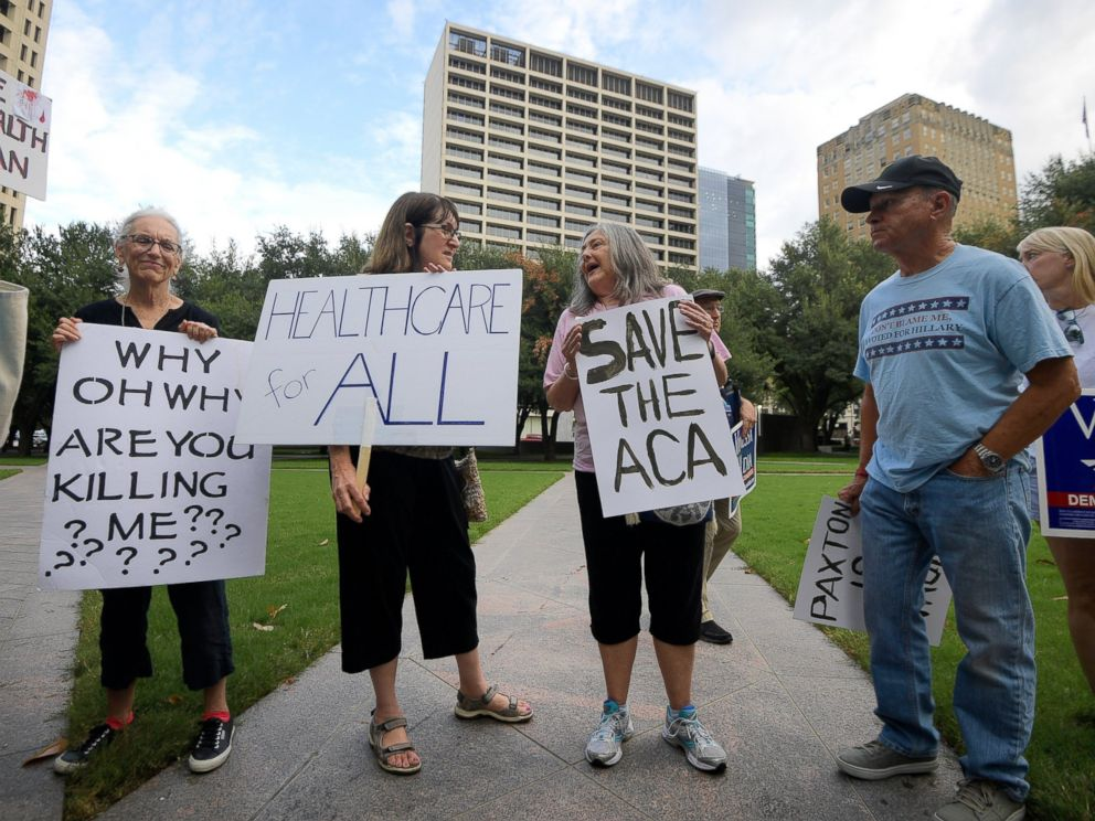 PHOTO: Supporters of the Affordable Care Act protest during a rally at Burnett Park in Fort Worth, Texas, Wednesday, Sept. 5, 2018.