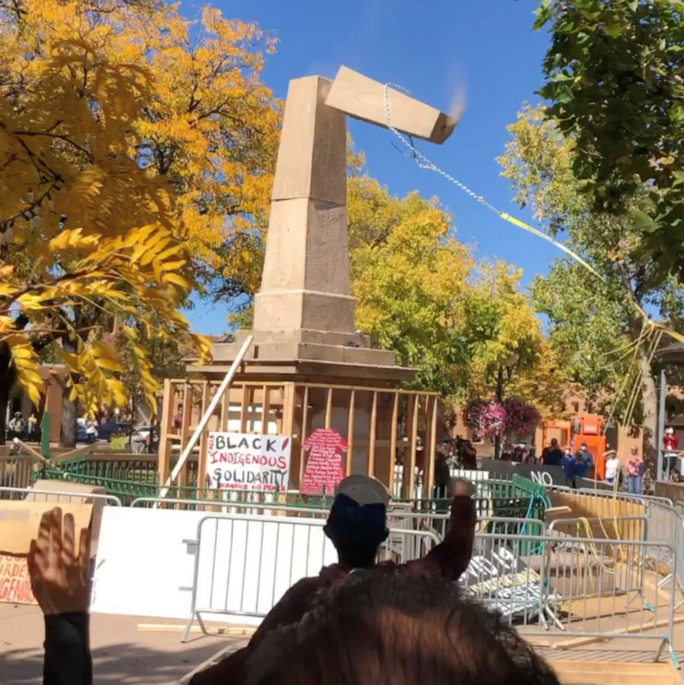 Santa Fe Obelisk Toppled During Indigenous Peoples Day Protest Abc News