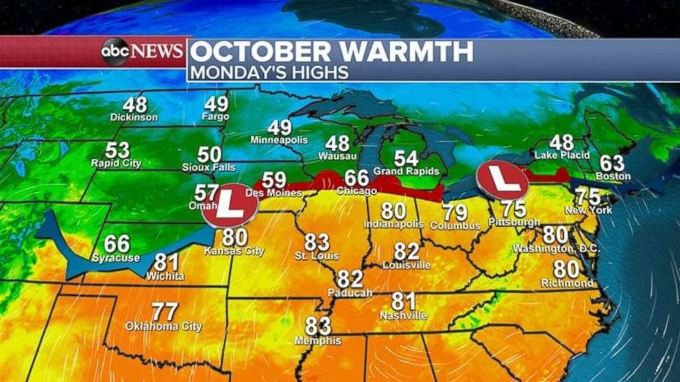 PHOTO: Temperatures will reach the mid-70s and 80s from Texas all the way to New York City on Monday.