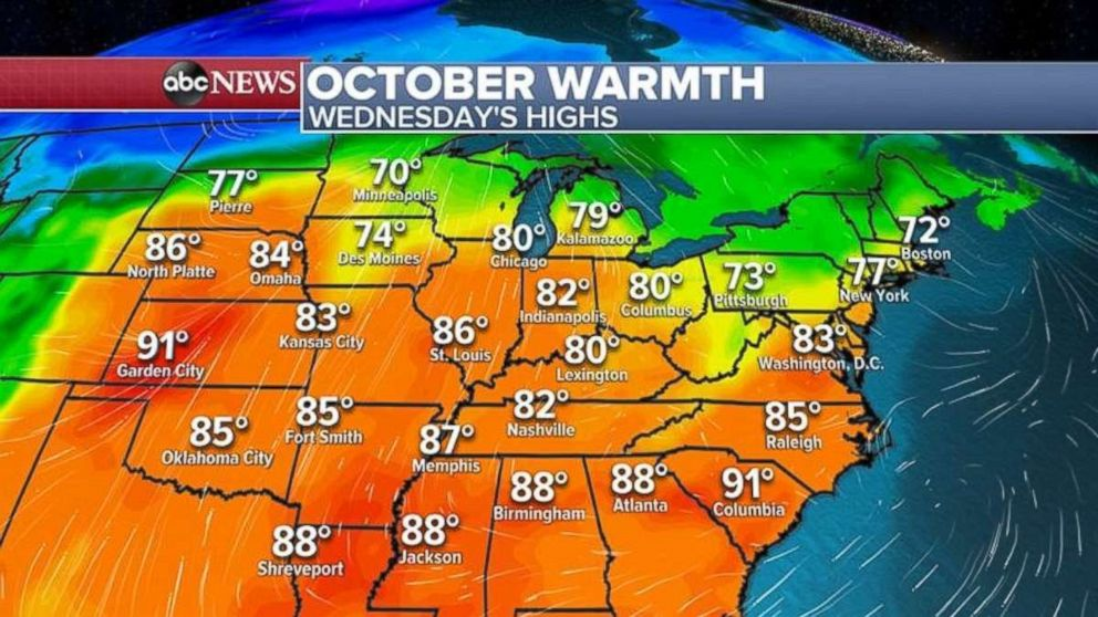 October temperatures will be more like summer than fall throughout much of the country east of the Rockies.