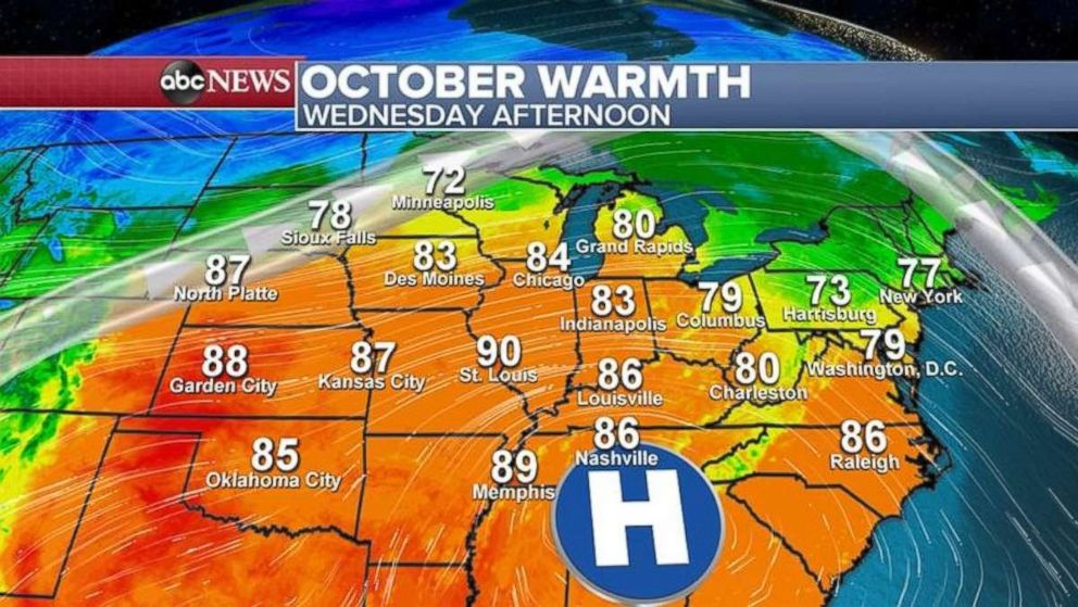 PHOTO: Temperatures will be well above normal on Wednesday across much of the eastern half of the country.
