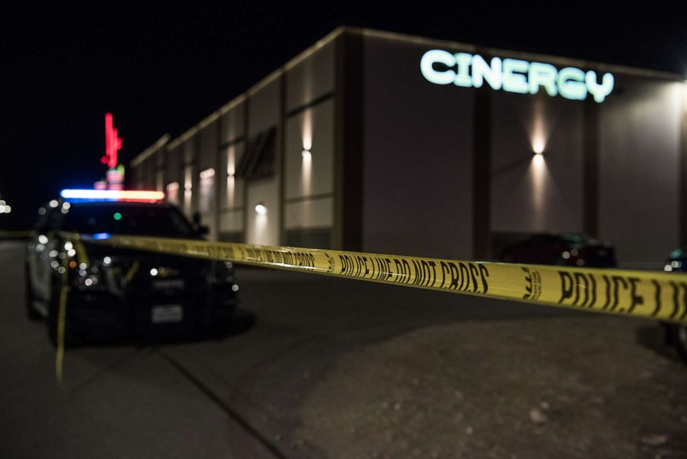PHOTO: Police cars and tape block off a crime scene outside the Cinergy Odessa movie theater where a gunman was shot and killed, Aug. 31, 2019 in Odessa, Texas.