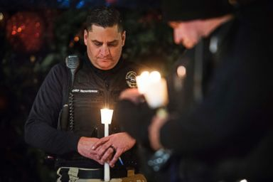 PHOTO: Newman Police Chief Randy Richardson and hundreds of people attend a vigil in memory of police Cpl. Ronil Singh in downtown Newman, Calif., Dec. 28, 2018.