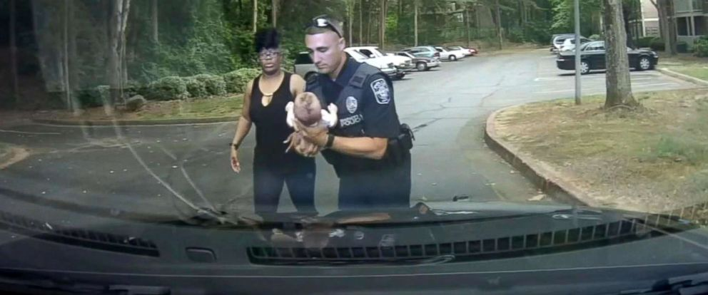 PHOTO: Georgia police officer Nick St. Onge used CPR to save a choking baby in Marietta, May 15, 2018.