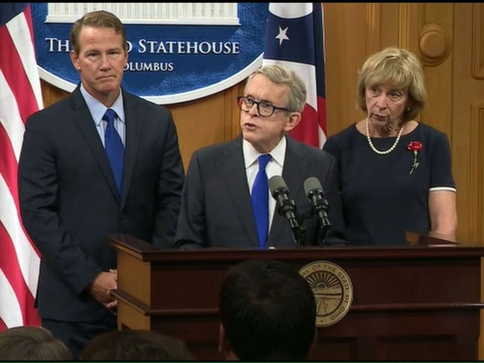 PHOTO: Ohio Governor Mike DeWine announces a slew of proposals in the wake of the deadly shootings in Dayton, during a press conference on Aug. 6, 2019.