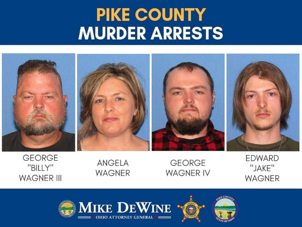 PHOTO: Four members of the same family have been arrested in connection with the murder of eight people in 2016: George Billy Wagner III, 47; Angela Wagner, 48; George Wagner IV, 27; and Edward Jake Wagner, 26.