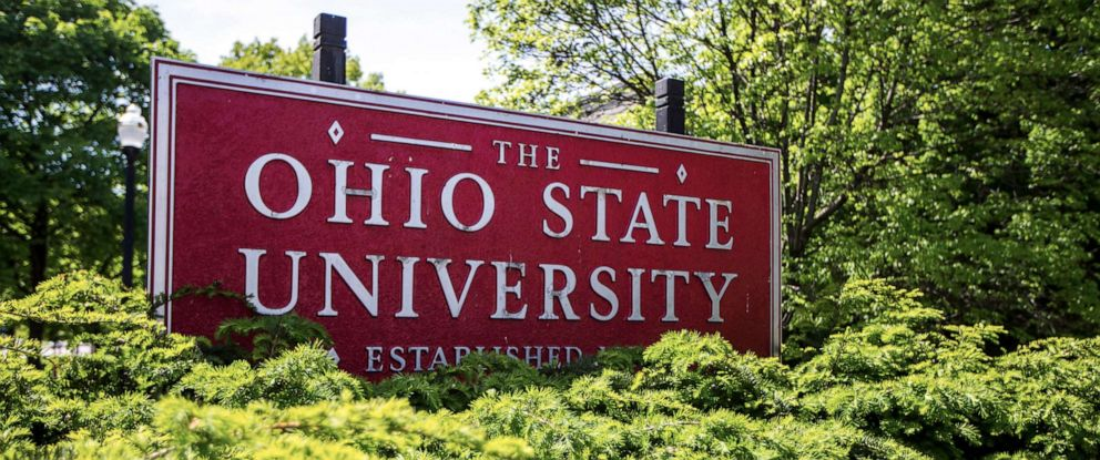 PHOTO: This May 8, 2019, photo shows a sign for Ohio State University in Columbus, Ohio.