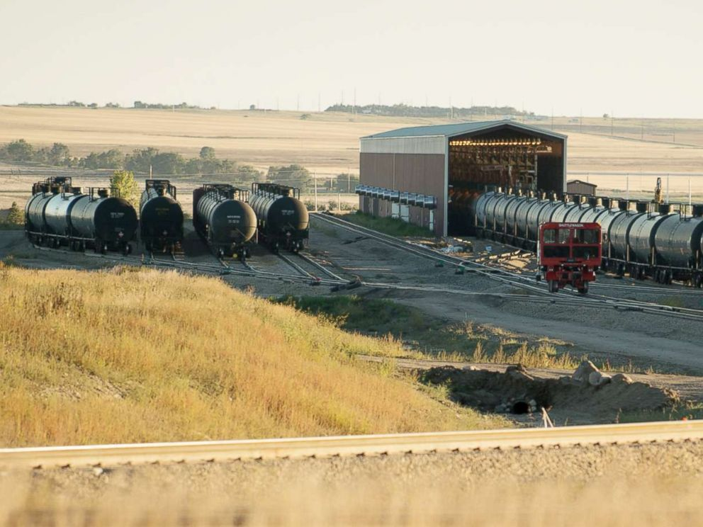 PHOTO: Tank cars are seen at a transfer station called a Colt Hub, operated by Inergy Crude Logistics, waiting to be filled with crude oil from trucks coming in from the Bakken oil fields in the small town of Epping, N.D., Sept 15, 2013.